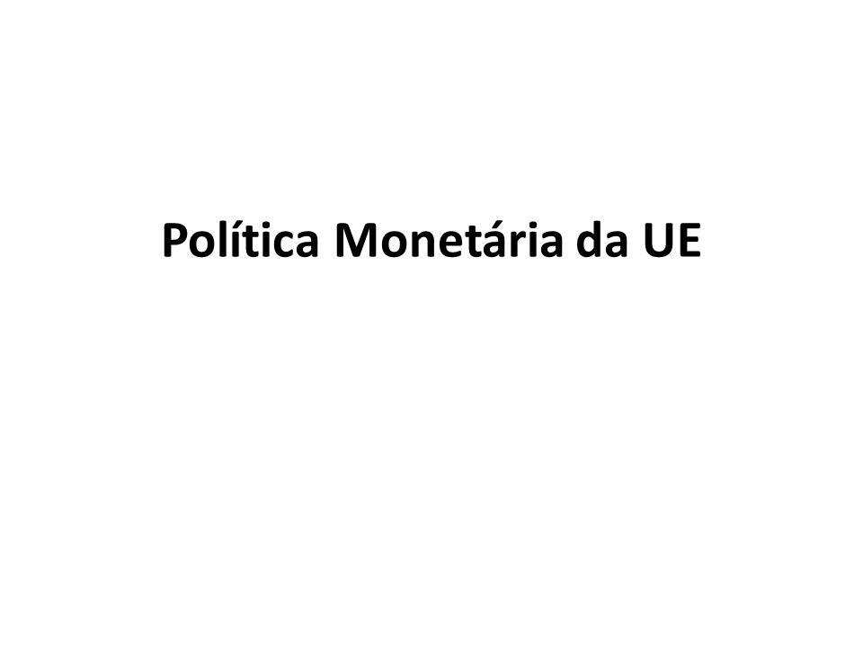 Objectivo da Política Monetária: Estabilidade de preços Pressupostos: Estabilidade de preços é vista como essencial para o crescimento económico sustentável Politica monetária pode ter efeitos sobre a economia real apenas no curto prazo