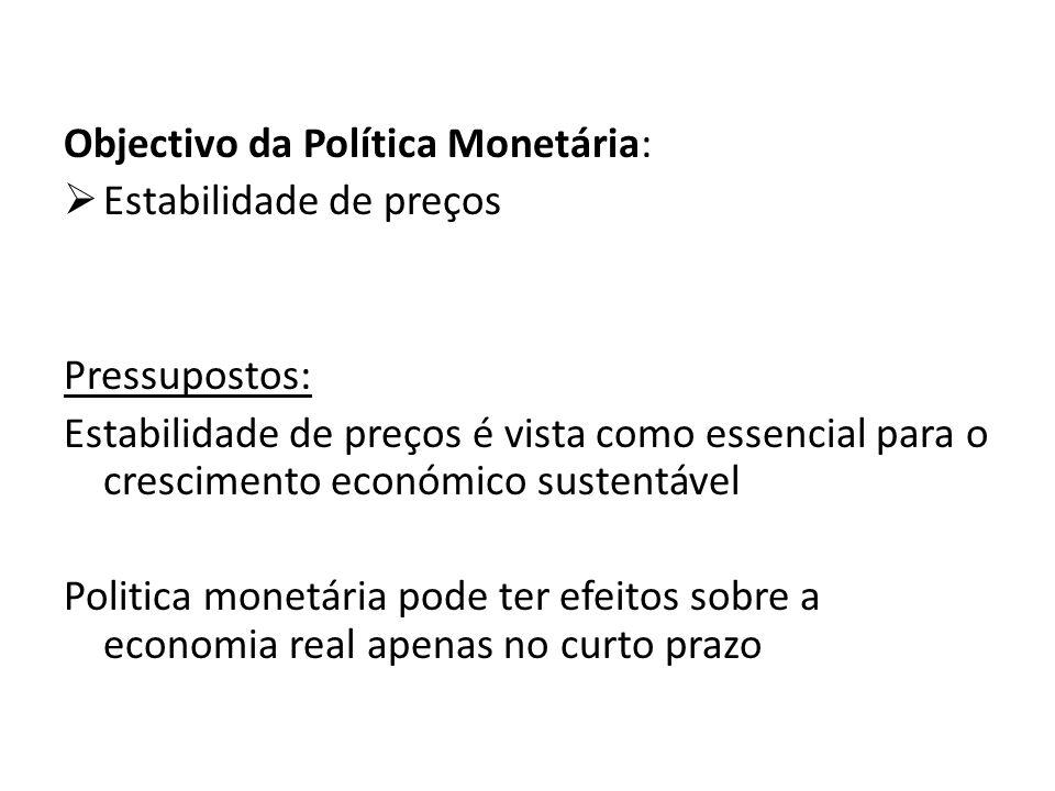 Objectivo da Política Monetária: Estabilidade de preços Pressupostos: Estabilidade de preços é vista como essencial para o crescimento económico suste