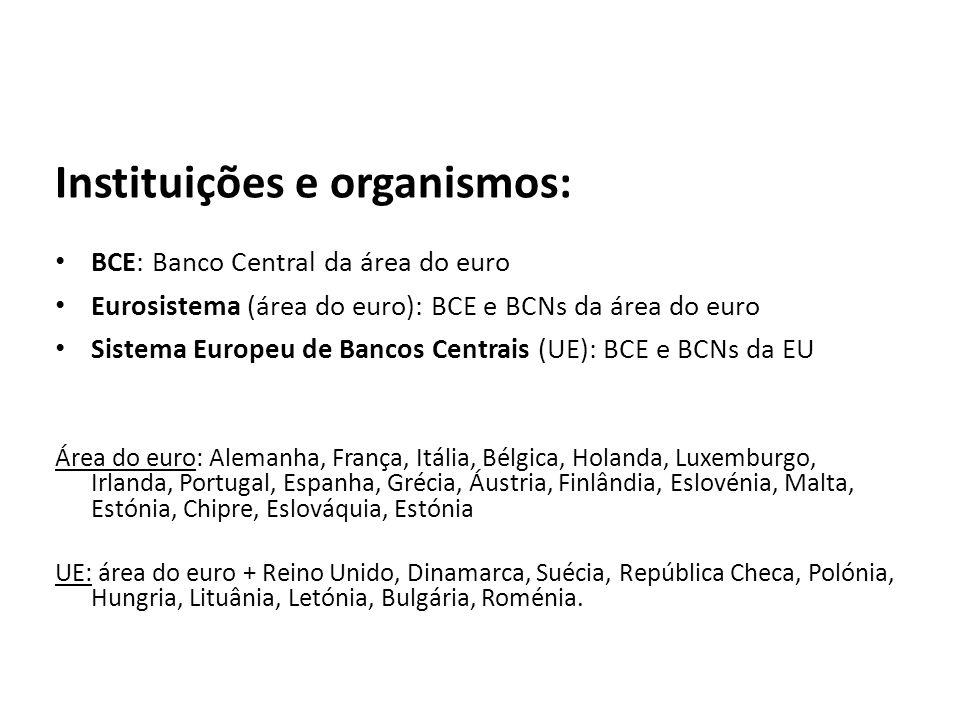 Instituições e organismos: BCE: Banco Central da área do euro Eurosistema (área do euro): BCE e BCNs da área do euro Sistema Europeu de Bancos Centrai