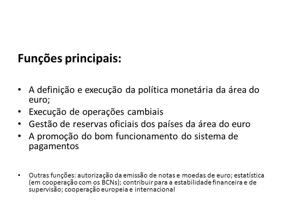 Funções principais: A definição e execução da política monetária da área do euro; Execução de operações cambiais Gestão de reservas oficiais dos paíse