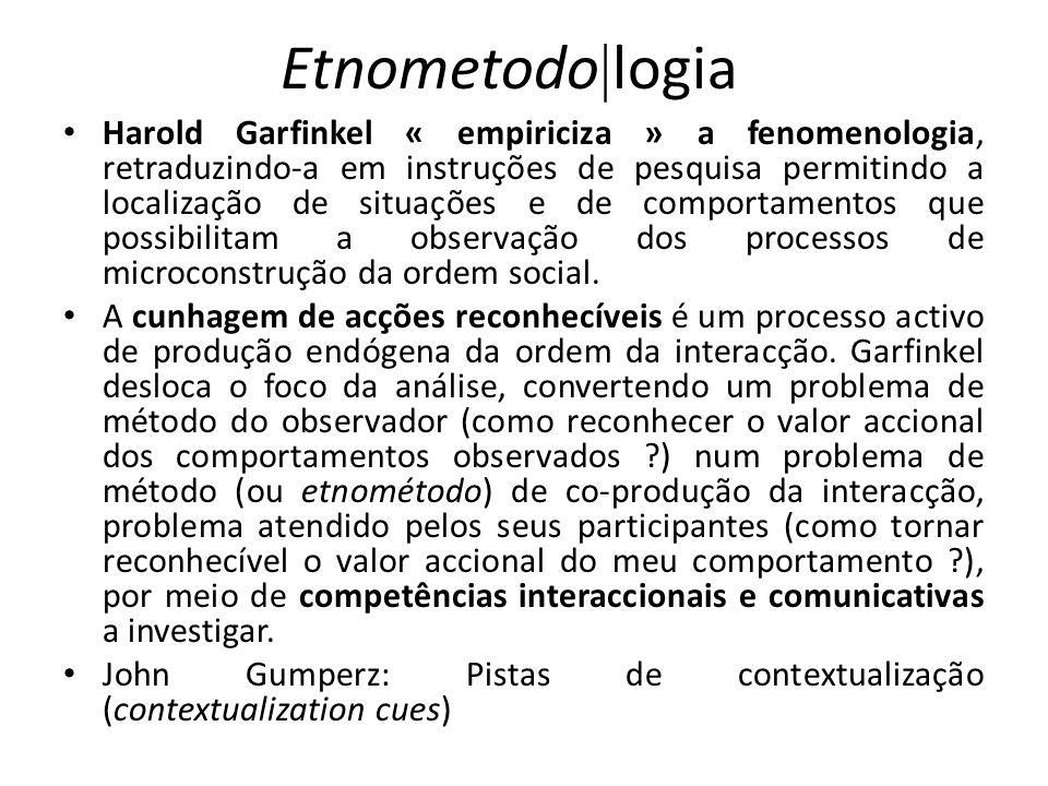 Etnometodo logia Harold Garfinkel « empiriciza » a fenomenologia, retraduzindo-a em instruções de pesquisa permitindo a localização de situações e de