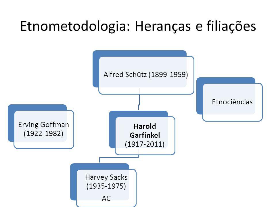Etnometodologia: Heranças e filiações Etnociências Erving Goffman (1922-1982) Alfred Schütz (1899-1959) Harold Garfinkel (1917-2011) Harvey Sacks (193