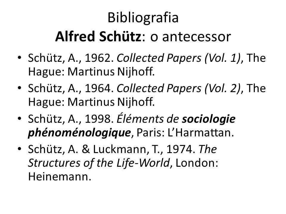 Bibliografia Alfred Schütz: o antecessor Schütz, A., 1962. Collected Papers (Vol. 1), The Hague: Martinus Nijhoff. Schütz, A., 1964. Collected Papers