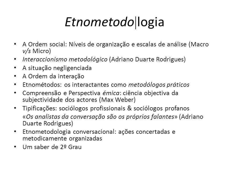 Etnometodo logia A Ordem social: Níveis de organização e escalas de análise (Macro v/s Micro) Interaccionismo metodológico (Adriano Duarte Rodrigues)
