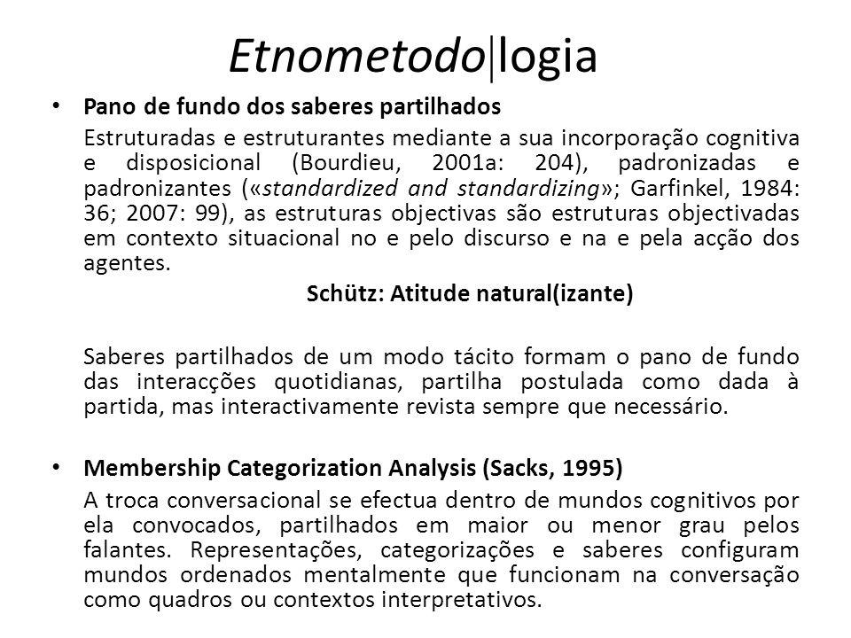 Etnometodo logia Pano de fundo dos saberes partilhados Estruturadas e estruturantes mediante a sua incorporação cognitiva e disposicional (Bourdieu, 2