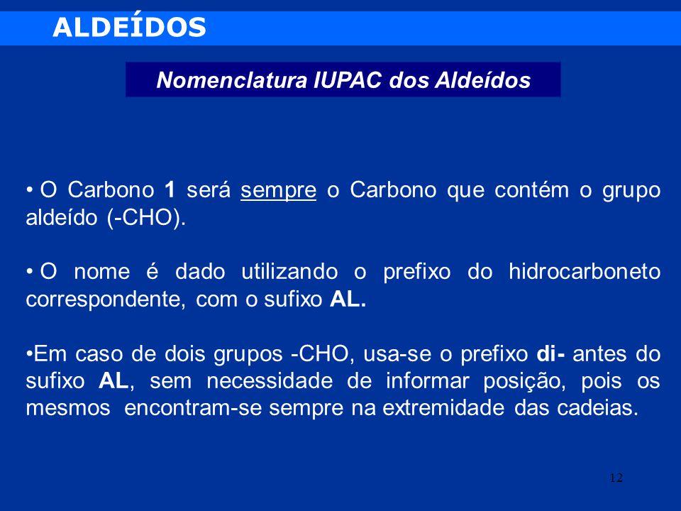 ALDEÍDOS Nomenclatura IUPAC dos Aldeídos O Carbono 1 será sempre o Carbono que contém o grupo aldeído (-CHO). O nome é dado utilizando o prefixo do hi