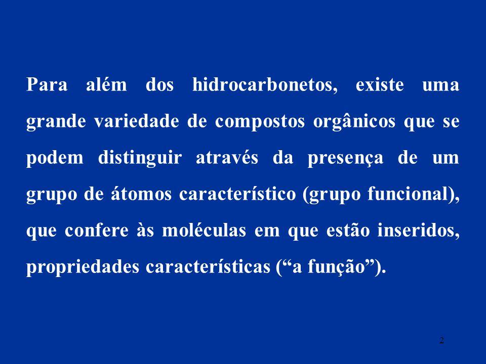 Para além dos hidrocarbonetos, existe uma grande variedade de compostos orgânicos que se podem distinguir através da presença de um grupo de átomos ca