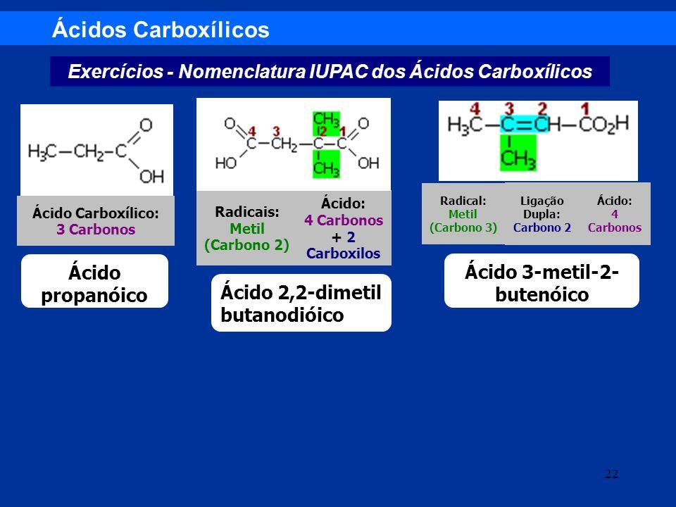 Ácidos Carboxílicos Exercícios - Nomenclatura IUPAC dos Ácidos Carboxílicos Ácido: 4 Carbonos Ligação Dupla: Carbono 2 Radical: Metil (Carbono 3) Ácid