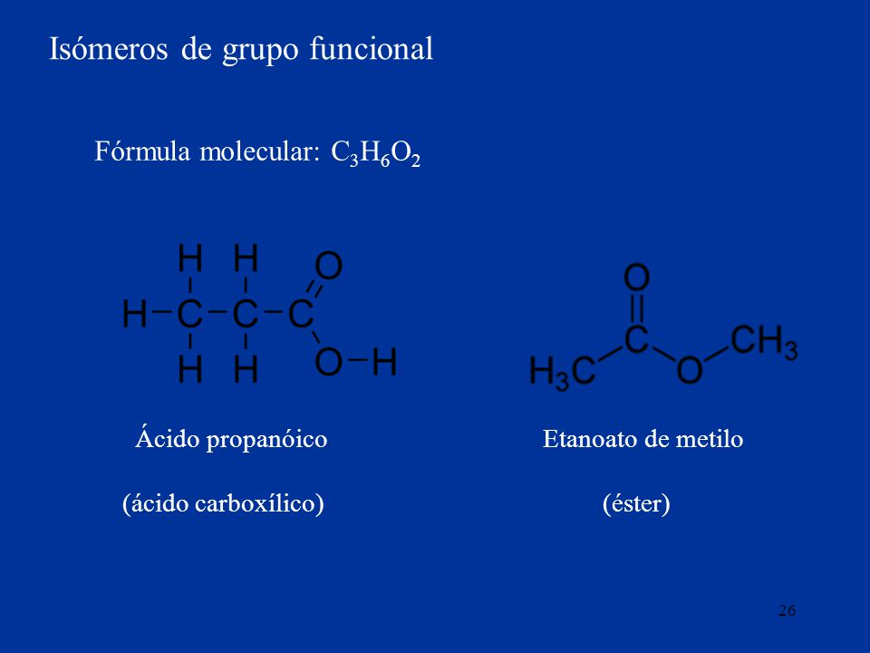 26 Isómeros de grupo funcional Ácido propanóico Etanoato de metilo (ácido carboxílico) (éster) Fórmula molecular: C 3 H 6 O 2