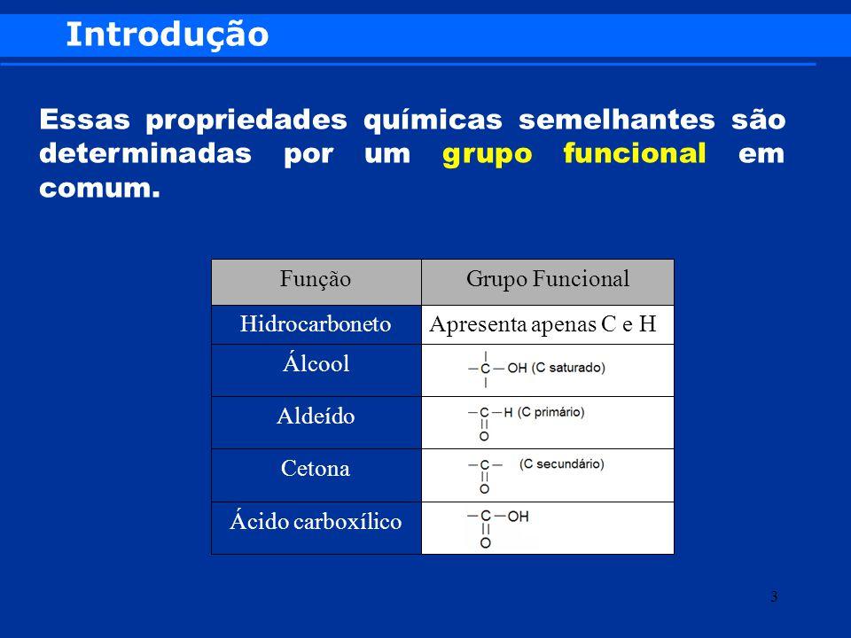 Introdução Essas propriedades químicas semelhantes são determinadas por um grupo funcional em comum. Ácido carboxílico Cetona Aldeído Álcool Apresenta