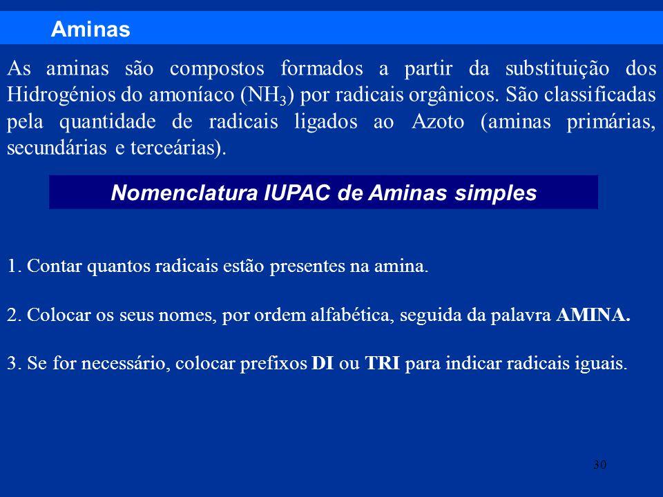 Aminas Nomenclatura IUPAC de Aminas simples As aminas são compostos formados a partir da substituição dos Hidrogénios do amoníaco (NH 3 ) por radicais