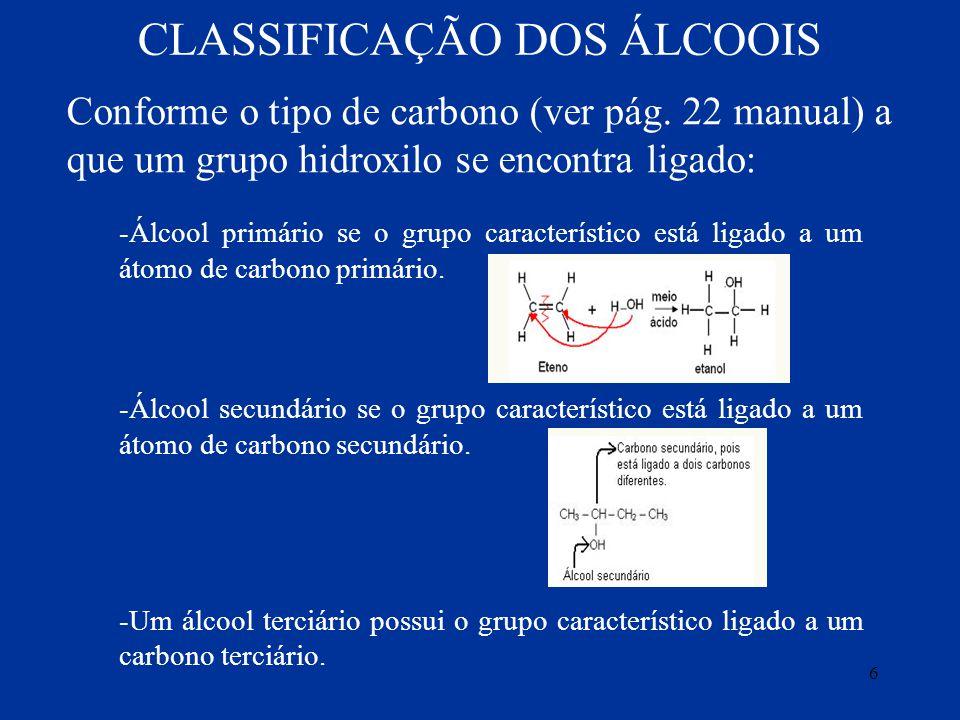 CLASSIFICAÇÃO DOS ÁLCOOIS Conforme o tipo de carbono (ver pág. 22 manual) a que um grupo hidroxilo se encontra ligado: -Álcool primário se o grupo car