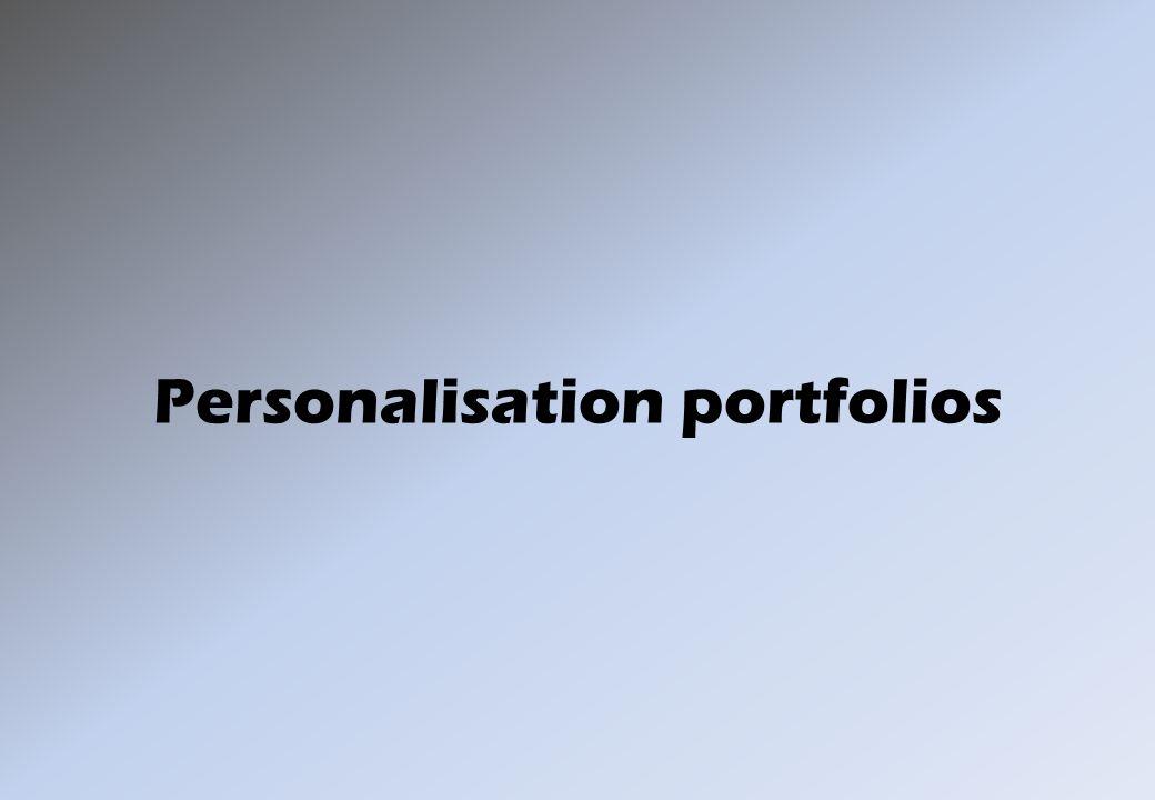 Personalisation portfolios