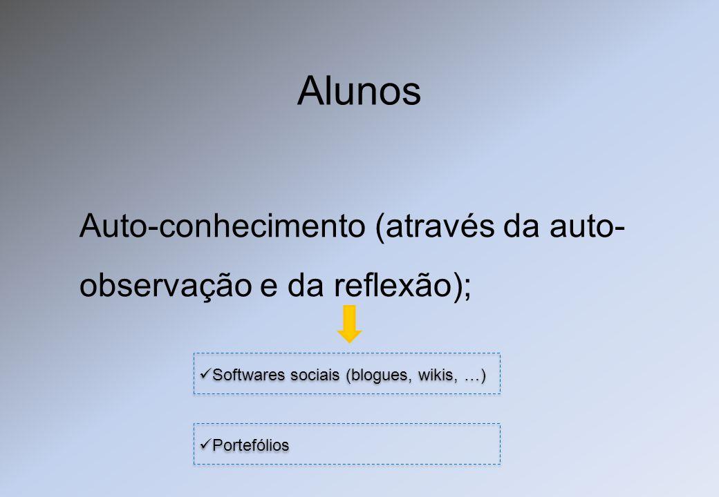 Auto-conhecimento (através da auto- observação e da reflexão); Softwares sociais (blogues, wikis, …) Portefólios Alunos