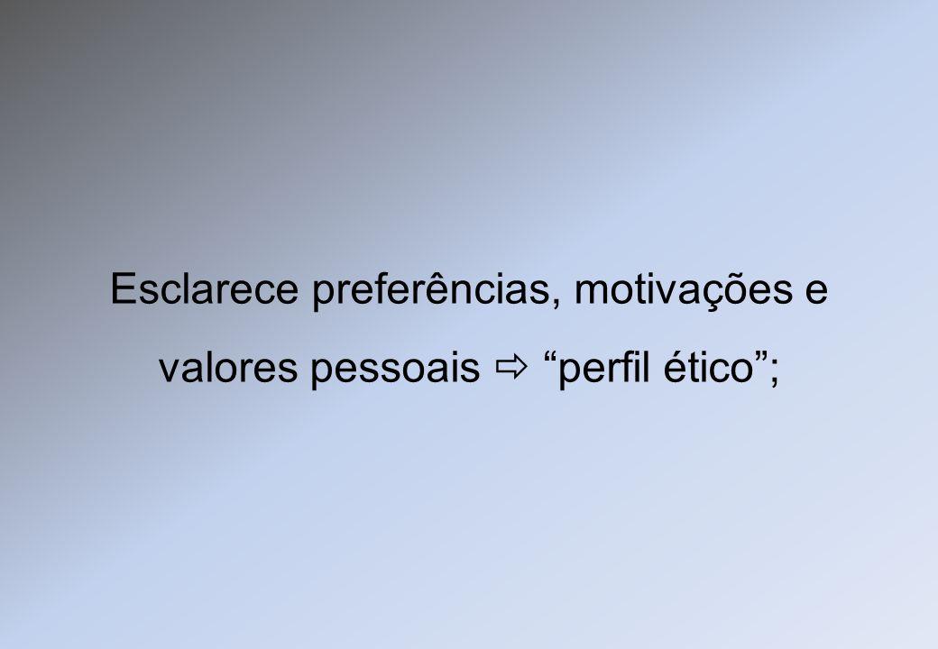 Esclarece preferências, motivações e valores pessoais perfil ético;