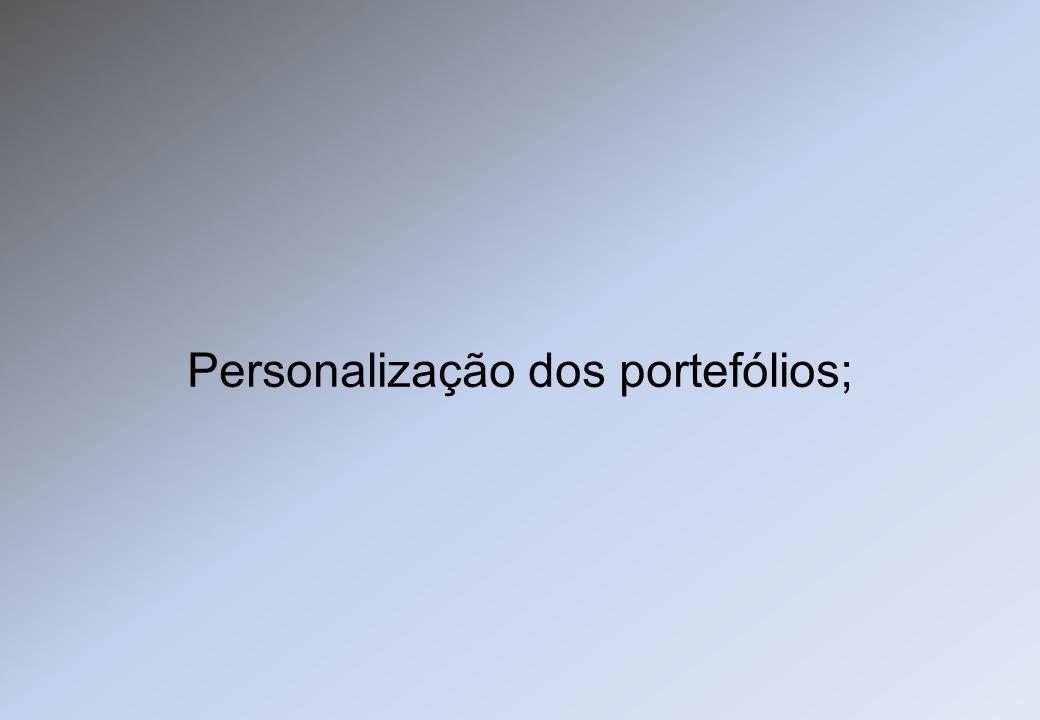Personalização dos portefólios;