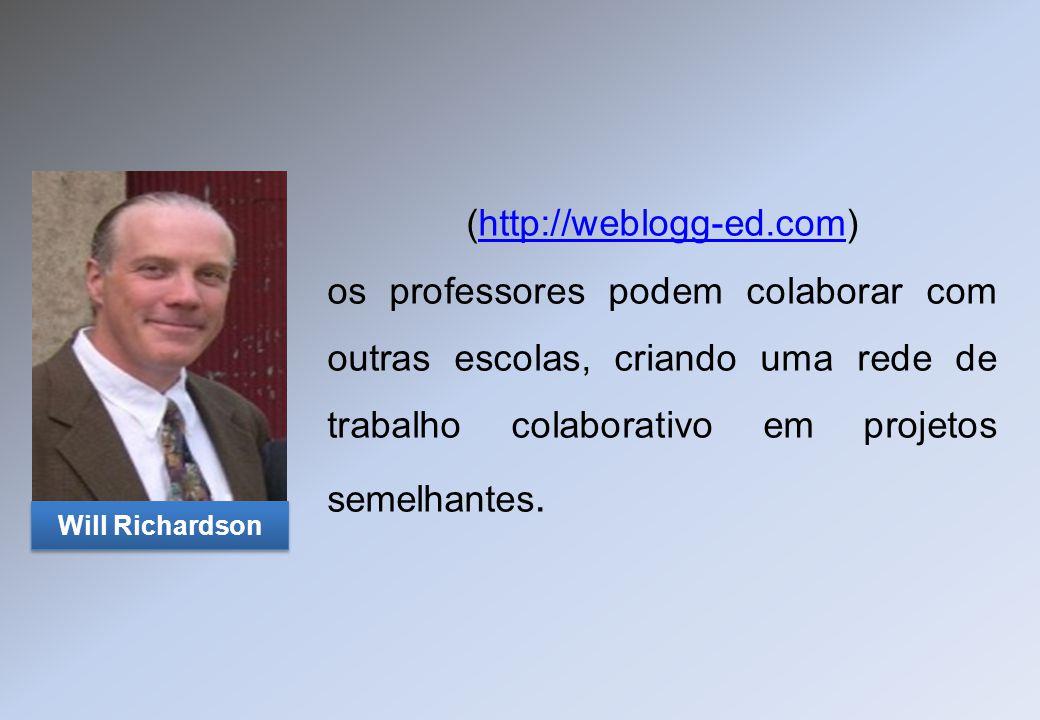 (http://weblogg-ed.com) os professores podem colaborar com outras escolas, criando uma rede de trabalho colaborativo em projetos semelhantes.http://we