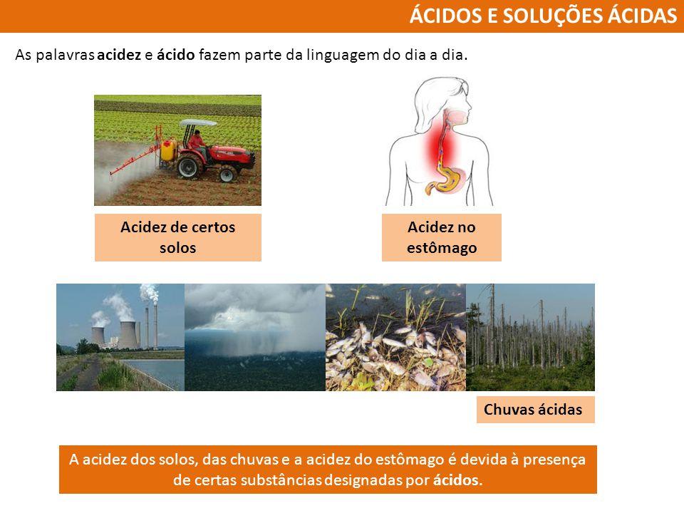 ÁCIDOS E SOLUÇÕES ÁCIDAS As palavras acidez e ácido fazem parte da linguagem do dia a dia. Acidez de certos solos Acidez no estômago Chuvas ácidas A a