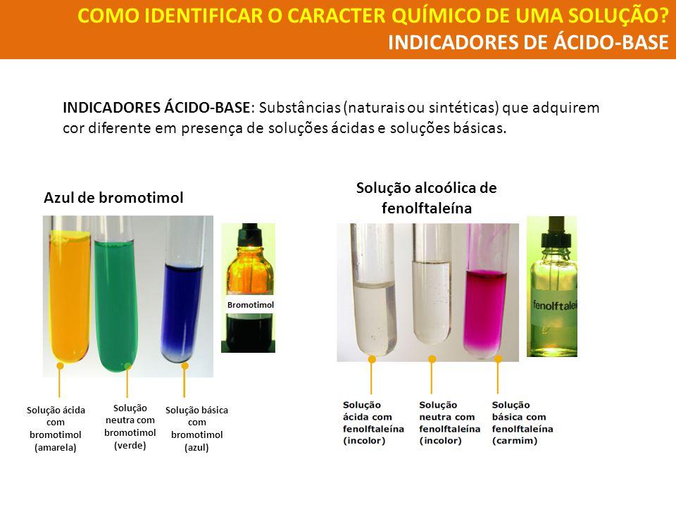 COMO IDENTIFICAR O CARACTER QUÍMICO DE UMA SOLUÇÃO? INDICADORES DE ÁCIDO-BASE INDICADORES ÁCIDO-BASE: Substâncias (naturais ou sintéticas) que adquire