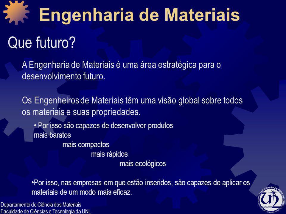 Departamento de Ciência dos Materiais Faculdade de Ciências e Tecnologia da UNL Engenharia de Materiais Que futuro? A Engenharia de Materiais é uma ár