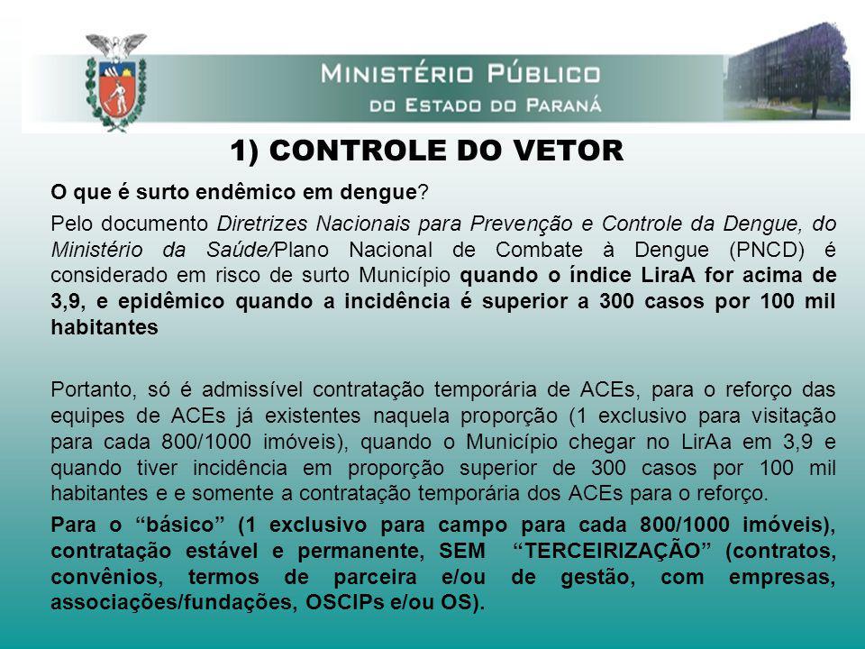 1) CONTROLE DO VETOR O que é surto endêmico em dengue? Pelo documento Diretrizes Nacionais para Prevenção e Controle da Dengue, do Ministério da Saúde