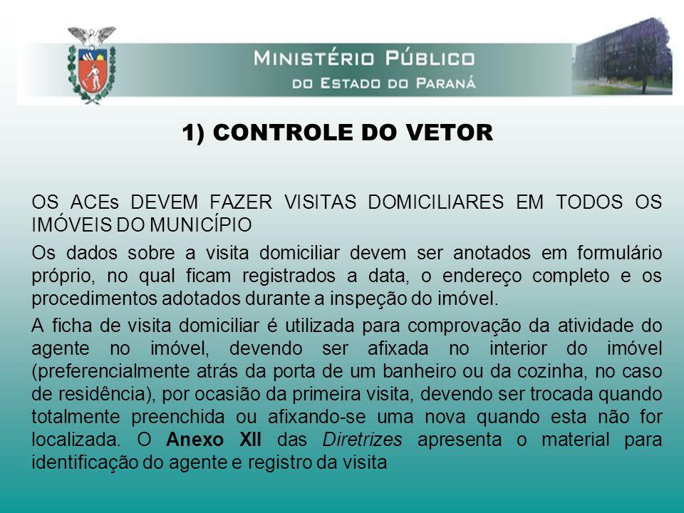 1) CONTROLE DO VETOR OS ACEs DEVEM FAZER VISITAS DOMICILIARES EM TODOS OS IMÓVEIS DO MUNICÍPIO Os dados sobre a visita domiciliar devem ser anotados e