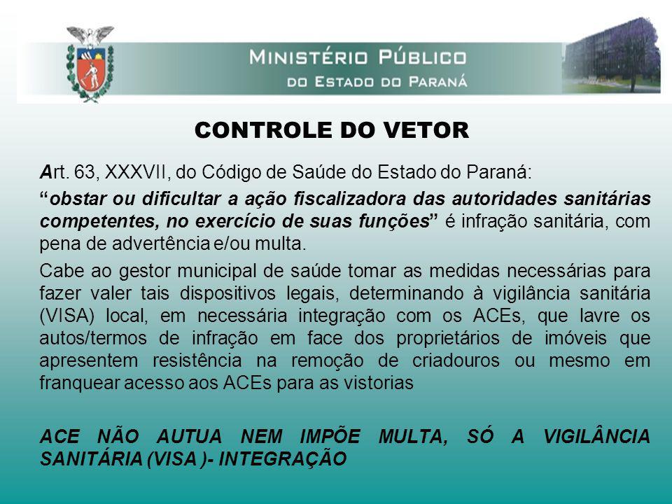 CONTROLE DO VETOR Art. 63, XXXVII, do Código de Saúde do Estado do Paraná: obstar ou dificultar a ação fiscalizadora das autoridades sanitárias compet
