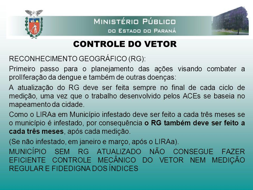 CONTROLE DO VETOR RECONHECIMENTO GEOGRÁFICO (RG): Primeiro passo para o planejamento das ações visando combater a prolIferação da dengue e também de o