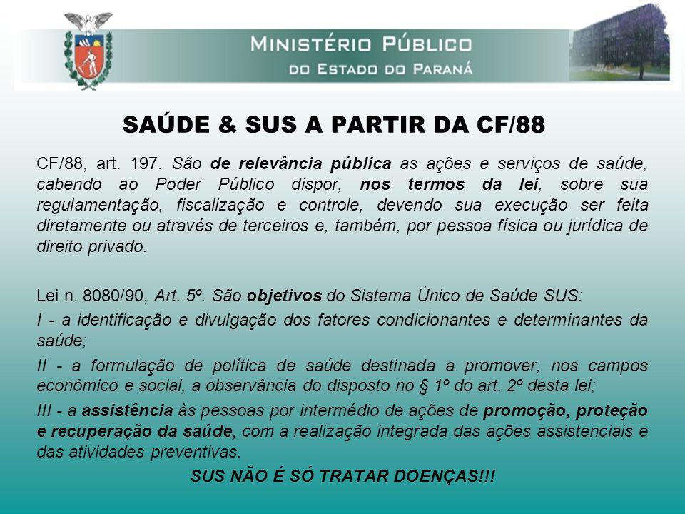SAÚDE & SUS A PARTIR DA CF/88 CF/88, art. 197. São de relevância pública as ações e serviços de saúde, cabendo ao Poder Público dispor, nos termos da