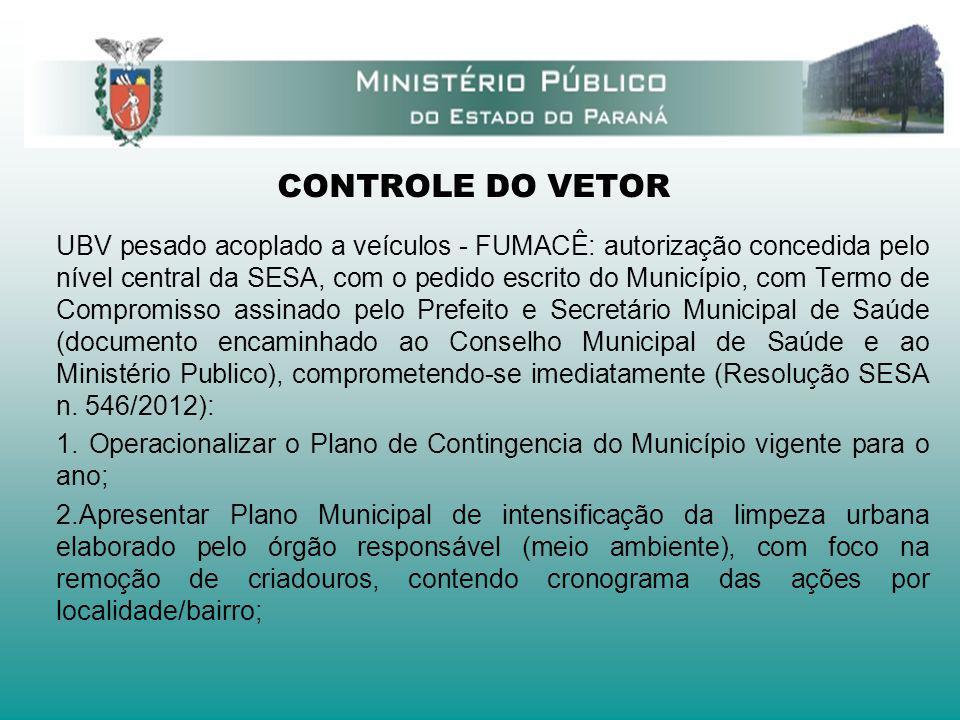 CONTROLE DO VETOR UBV pesado acoplado a veículos - FUMACÊ: autorização concedida pelo nível central da SESA, com o pedido escrito do Município, com Te