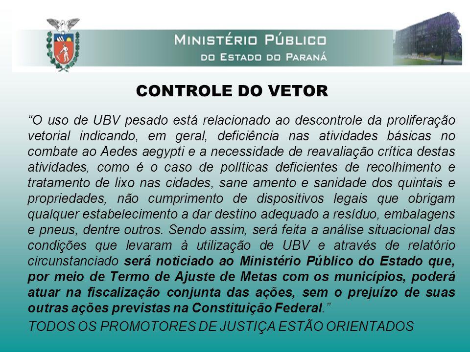CONTROLE DO VETOR O uso de UBV pesado está relacionado ao descontrole da proliferação vetorial indicando, em geral, deficiência nas atividades básicas