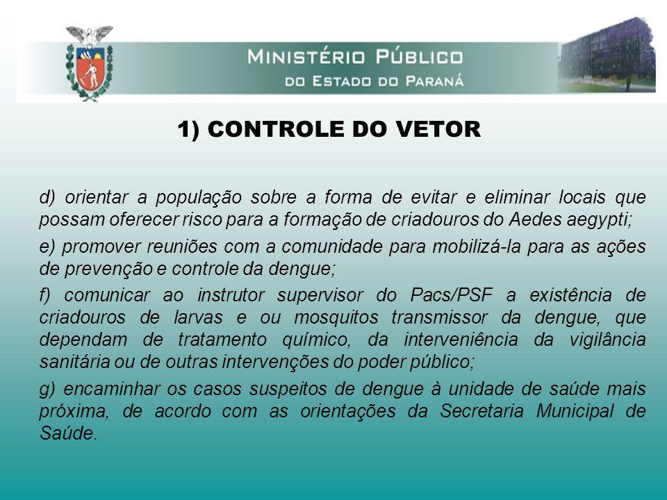 1) CONTROLE DO VETOR d) orientar a população sobre a forma de evitar e eliminar locais que possam oferecer risco para a formação de criadouros do Aede