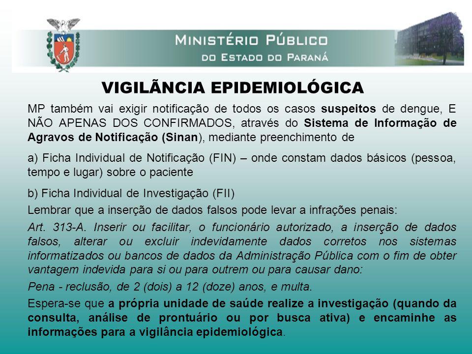 VIGILÃNCIA EPIDEMIOLÓGICA MP também vai exigir notificação de todos os casos suspeitos de dengue, E NÃO APENAS DOS CONFIRMADOS, através do Sistema de