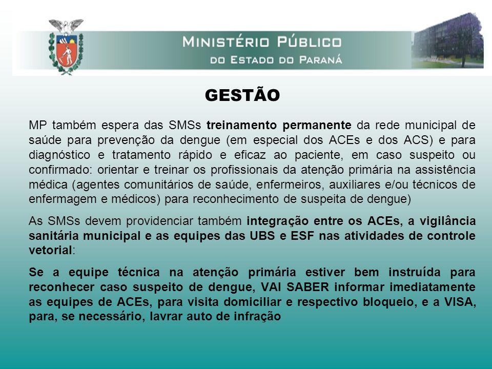 GESTÃO MP também espera das SMSs treinamento permanente da rede municipal de saúde para prevenção da dengue (em especial dos ACEs e dos ACS) e para di