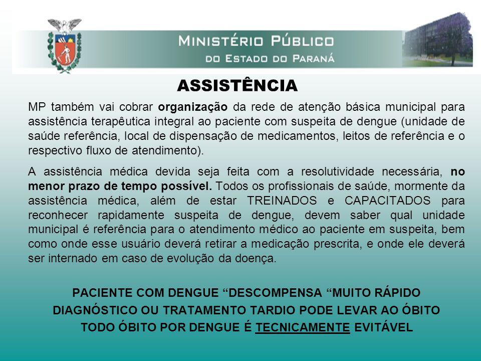 ASSISTÊNCIA MP também vai cobrar organização da rede de atenção básica municipal para assistência terapêutica integral ao paciente com suspeita de den