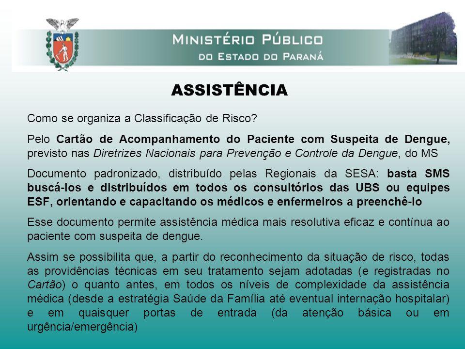 ASSISTÊNCIA Como se organiza a Classificação de Risco? Pelo Cartão de Acompanhamento do Paciente com Suspeita de Dengue, previsto nas Diretrizes Nacio