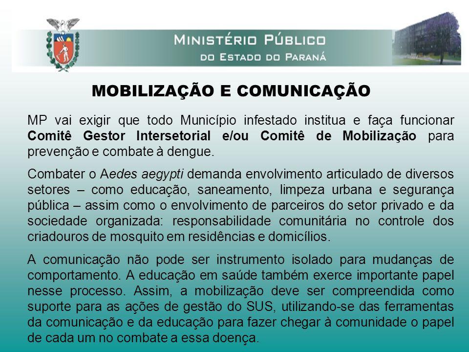 MOBILIZAÇÃO E COMUNICAÇÃO MP vai exigir que todo Município infestado institua e faça funcionar Comitê Gestor Intersetorial e/ou Comitê de Mobilização