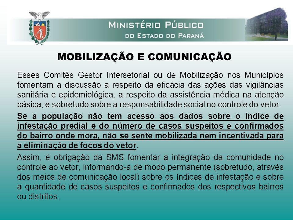 MOBILIZAÇÃO E COMUNICAÇÃO Esses Comitês Gestor Intersetorial ou de Mobilização nos Municípios fomentam a discussão a respeito da eficácia das ações da