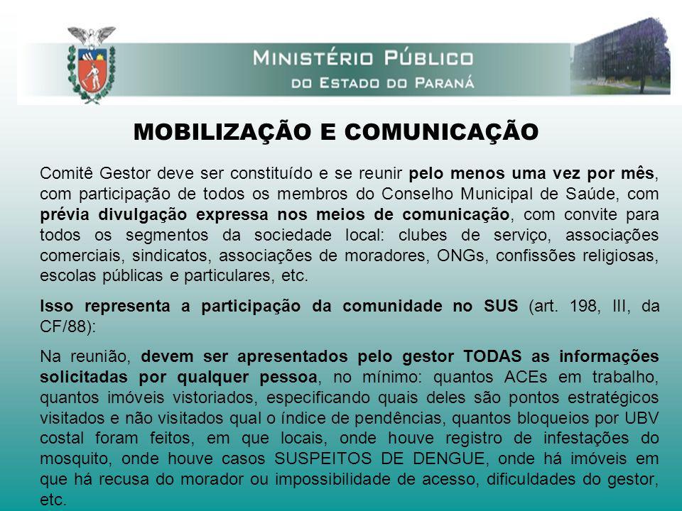 MOBILIZAÇÃO E COMUNICAÇÃO Comitê Gestor deve ser constituído e se reunir pelo menos uma vez por mês, com participação de todos os membros do Conselho