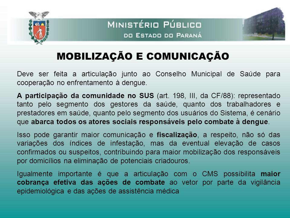 MOBILIZAÇÃO E COMUNICAÇÃO Deve ser feita a articulação junto ao Conselho Municipal de Saúde para cooperação no enfrentamento à dengue. A participação