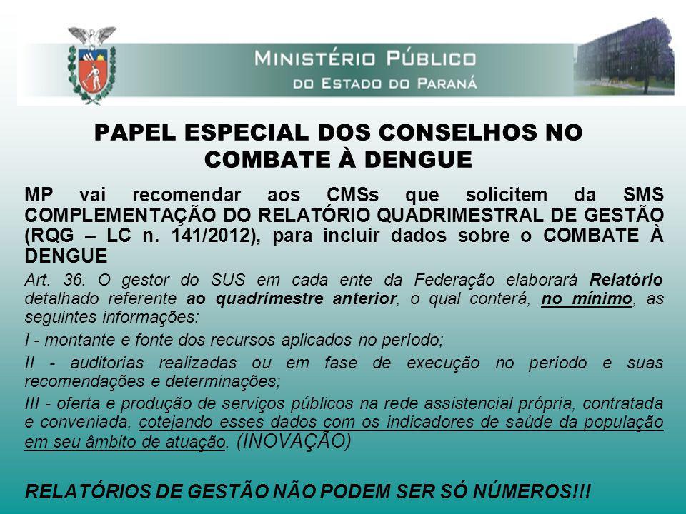 PAPEL ESPECIAL DOS CONSELHOS NO COMBATE À DENGUE MP vai recomendar aos CMSs que solicitem da SMS COMPLEMENTAÇÃO DO RELATÓRIO QUADRIMESTRAL DE GESTÃO (