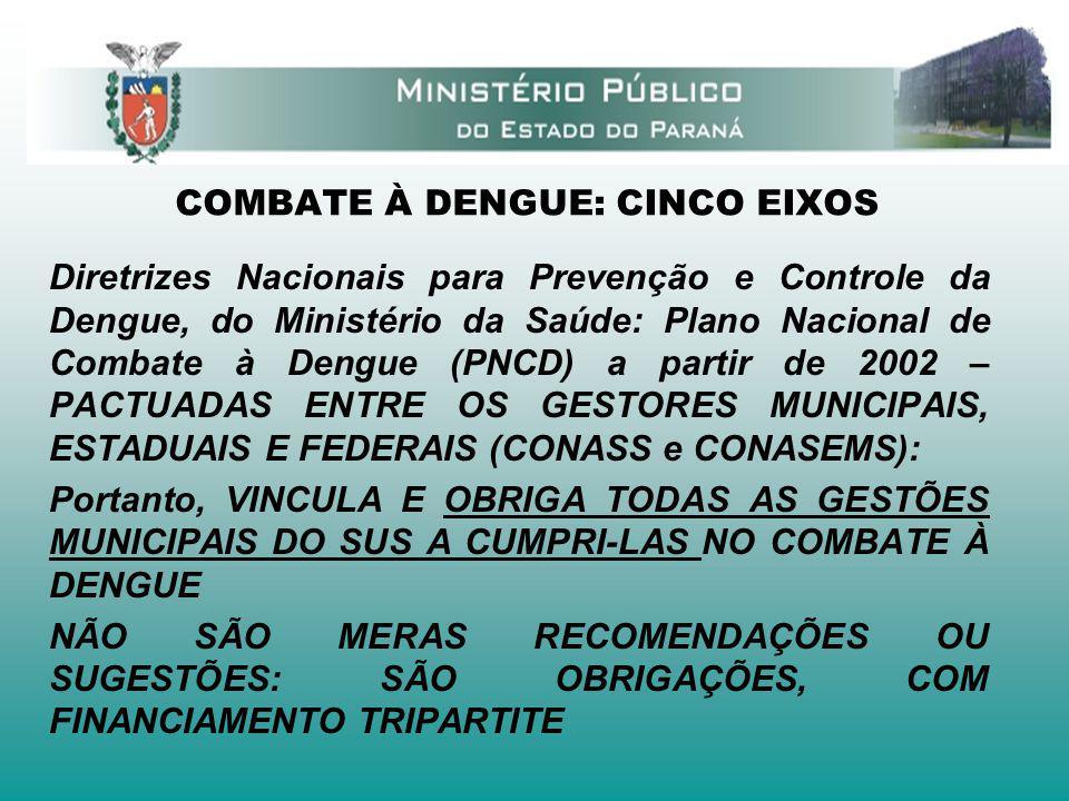COMBATE À DENGUE: CINCO EIXOS Diretrizes Nacionais para Prevenção e Controle da Dengue, do Ministério da Saúde: Plano Nacional de Combate à Dengue (PN