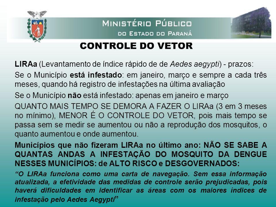 CONTROLE DO VETOR LIRAa (Levantamento de índice rápido de de Aedes aegypti) - prazos: Se o Município está infestado: em janeiro, março e sempre a cada