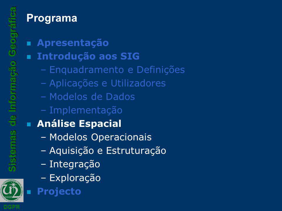 Sistemas de Informação Geográfica DGPR Programa n Apresentação n Introdução aos SIG –Enquadramento e Definições –Aplicações e Utilizadores –Modelos de Dados –Implementação n Análise Espacial –Modelos Operacionais –Aquisição e Estruturação –Integração –Exploração n Projecto