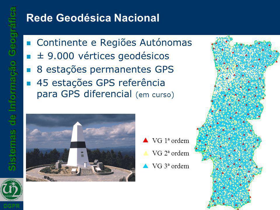 Sistemas de Informação Geográfica DGPR Rede Geodésica Nacional n Continente e Regiões Autónomas n ± 9.000 vértices geodésicos n 8 estações permanentes GPS n 45 estações GPS referência para GPS diferencial (em curso) VG 1ª ordem VG 2ª ordem VG 3ª ordem