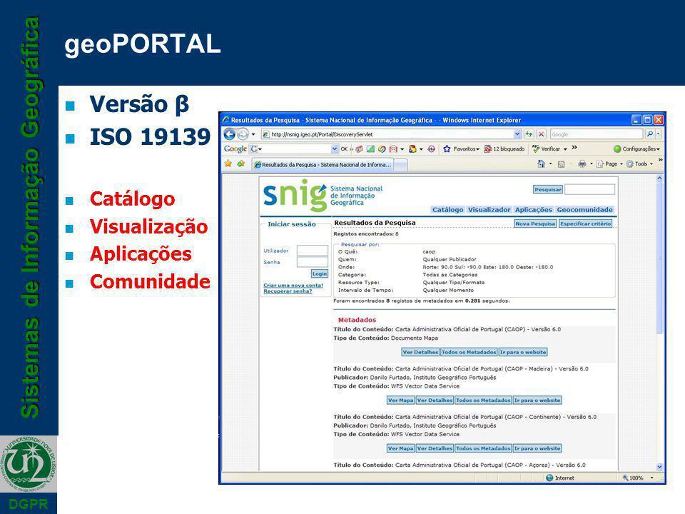 Sistemas de Informação Geográfica DGPR geoPORTAL n Versão β n ISO 19139 n Catálogo n Visualização n Aplicações n Comunidade