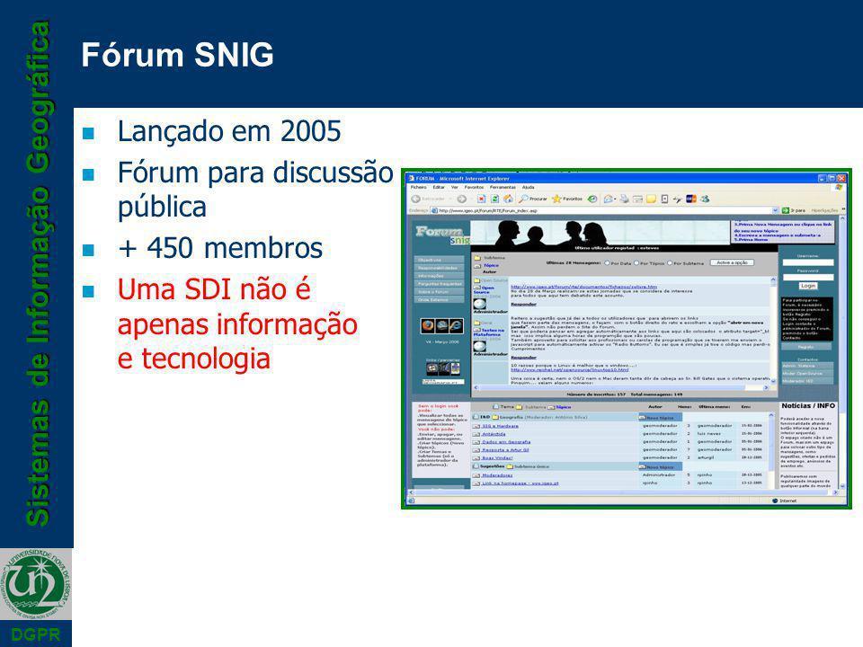 Sistemas de Informação Geográfica DGPR n Lançado em 2005 n Fórum para discussão pública n + 450 membros n Uma SDI não é apenas informação e tecnologia Fórum SNIG