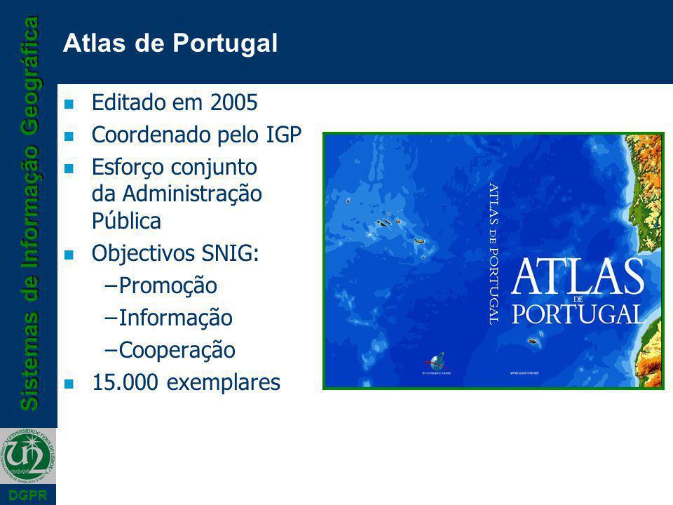 Sistemas de Informação Geográfica DGPR n Editado em 2005 n Coordenado pelo IGP n Esforço conjunto da Administração Pública n Objectivos SNIG: –Promoção –Informação –Cooperação n 15.000 exemplares Atlas de Portugal