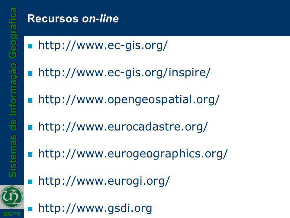 Sistemas de Informação Geográfica DGPR Recursos on-line n http://www.ec-gis.org/ n http://www.ec-gis.org/inspire/ n http://www.opengeospatial.org/ n http://www.eurocadastre.org/ n http://www.eurogeographics.org/ n http://www.eurogi.org/ n http://www.gsdi.org