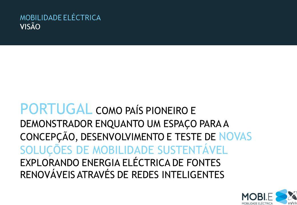 MOBILIDADE ELÉCTRICA VISÃO PORTUGAL COMO PAÍS PIONEIRO E DEMONSTRADOR ENQUANTO UM ESPAÇO PARA A CONCEPÇÃO, DESENVOLVIMENTO E TESTE DE NOVAS SOLUÇÕES DE MOBILIDADE SUSTENTÁVEL EXPLORANDO ENERGIA ELÉCTRICA DE FONTES RENOVÁVEIS ATRAVÉS DE REDES INTELIGENTES